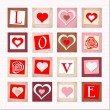 Illustration of decorative hearts and letters LOVE — Vector de stock #18331005