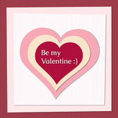 "Paper heart with text ""be my valentine"" — Stockvector"