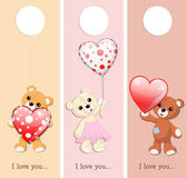 Three valentine banners with teddy bears and glossy hearts — Stock Vector