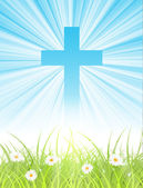 Cross on blue sky, with sun rays and green lawn — Stock Vector