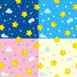 Four seamless patterns with happy stars — Stock Vector