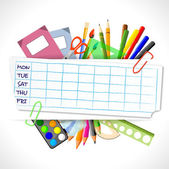 School timetable with stationery — Stock Vector