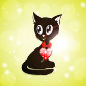 Black kitty with red glossy heart — Stock Vector