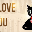 Black kitty with red heart and text I love you — Stock Vector