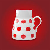 White ceramic pot with red dots — Stock Vector
