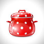 Red pot with white dots — Stock Vector