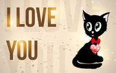 """Czarny kotek z czerwonym sercem i tekst """"Kocham cię"""" — Wektor stockowy"""