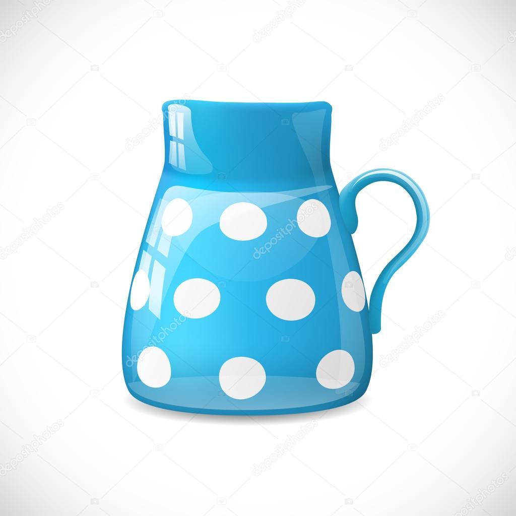 蓝色陶瓷壶具白色小圆点,矢量图 eps 10,具有透明度和渐变网格—