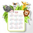 Stock Vector: Calendar 2014 with animals