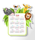 Calendar 2014 with animals — Stock Vector