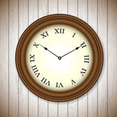 Vintage clock on wooden background — Stock Vector