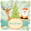 Stock Vector: Vintage christmas theme