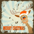 Stock Vector: Retro christmas theme with reindeer and text merry christmas