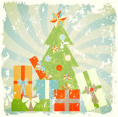 Christmas tree with gifts, illustration in retro style — Stock Vector