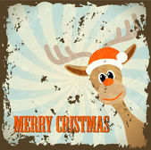 Retro christmas theme with reindeer and text merry christmas — Stock Vector