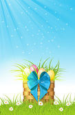 Wooden basket with easter eggs on fresh grass — Stock Vector