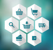 Hexagonal icons for e-shop, suitable for flat design — 图库矢量图片