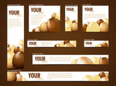 Set of  web banners with chocolate motive — Stock Vector