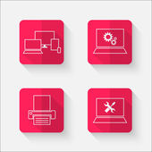 Red flat buttons with computer theme — Stock Vector