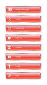 Červená lesklá tlačítka internet — Stock vektor