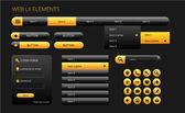 Elementy interfejsu użytkownika nowoczesny tkanina czarny i żółty — Wektor stockowy