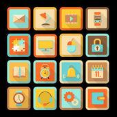 Set di icone piatto colorate — Vettoriale Stock