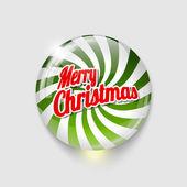 スパイラルやテキストで光沢のあるボタン メリー クリスマス — ストックベクタ