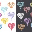 Stock Vector: Color Hand Drawn Hearts Set