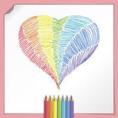Rainbow Heart With Color Pencils — Stock Vector
