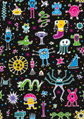 Monsters Seamless Pattern — Stock Vector