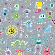 Cute Monsters Seamless Patterns - Stock Vector