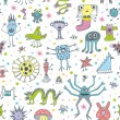 Funny Monsters Seamless Patterns — Stock Vector