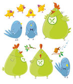 Personages - Cute Birds — Stock Vector