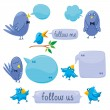 Set Of Blue Birds With Blobs — Stock Vector
