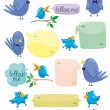 Stock Vector: Blue Birds With Color Bubbles