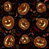 Halloween Pumpkins Seamless Pattern — Stock Vector