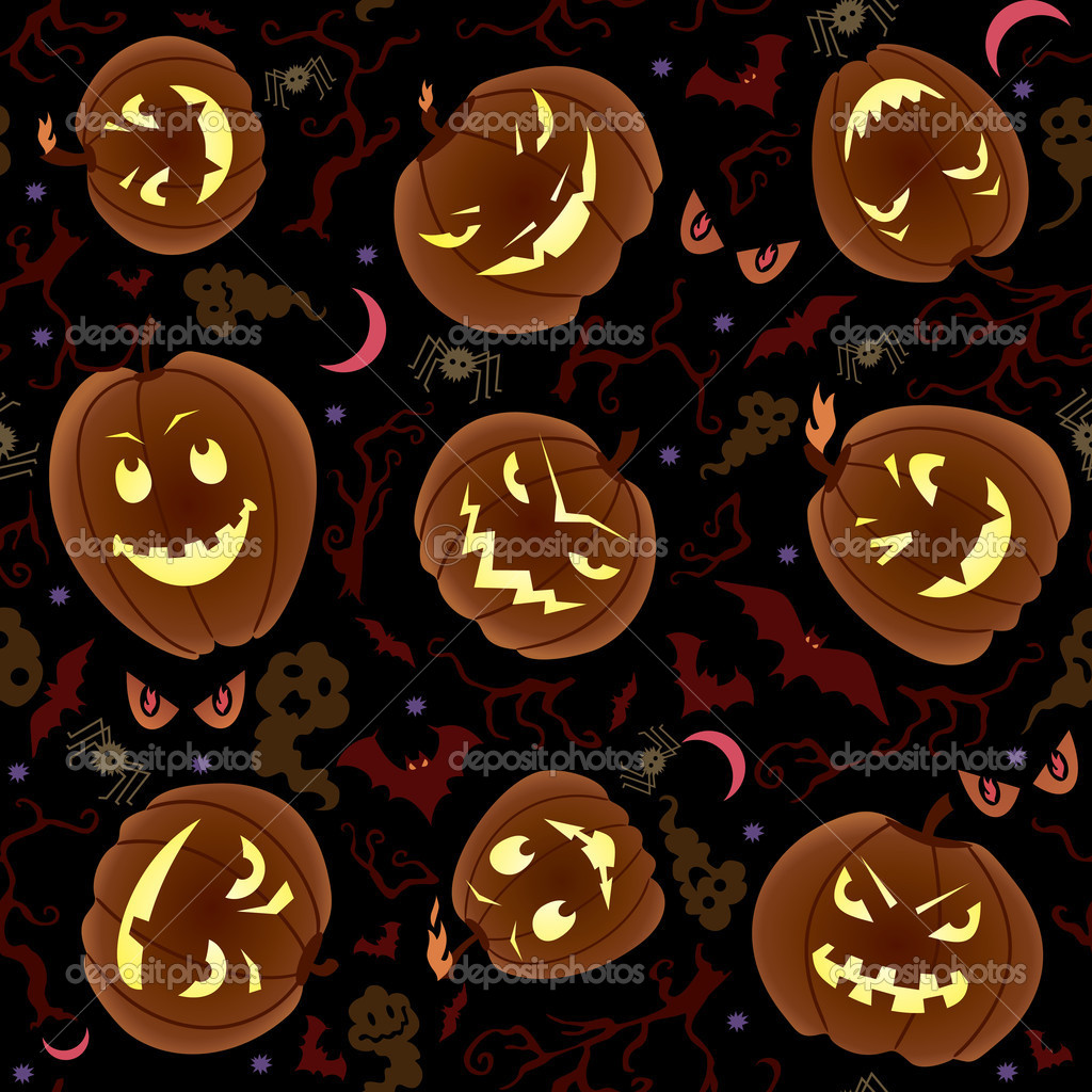 Vector seamless pattern on Halloween theme. — 图库矢量图片 #12698561