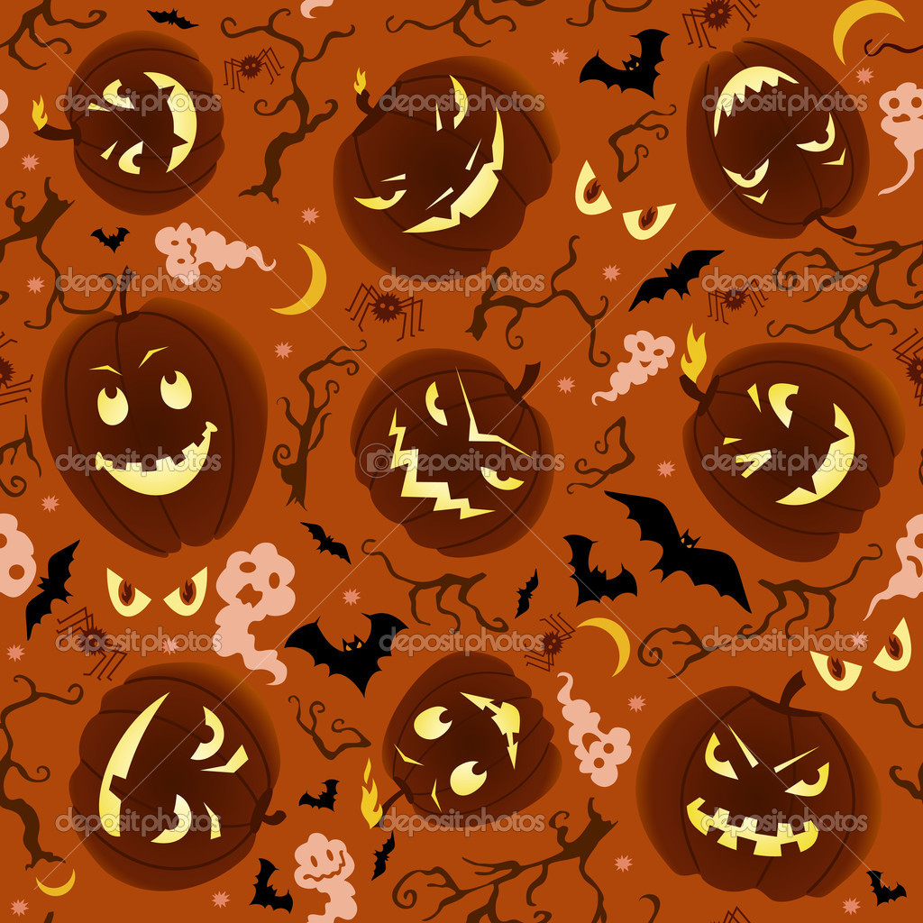 Vector seamless pattern on Halloween theme. — 图库矢量图片 #12816531