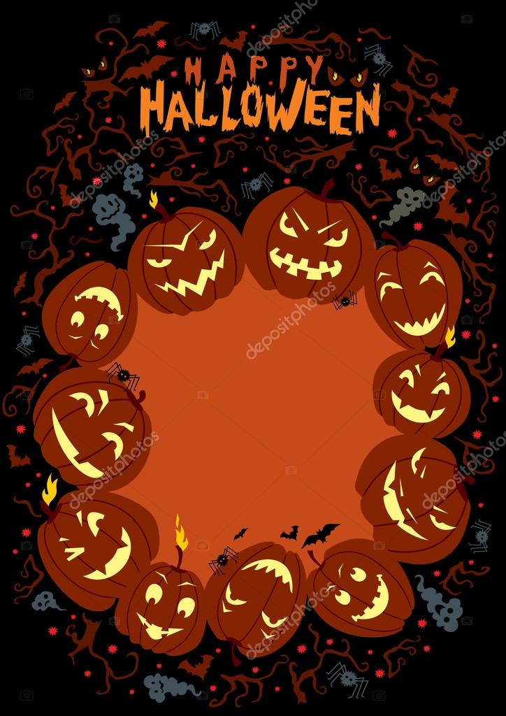 Vector illustration on Halloween theme with space for your text. Handwritten title. — Stock Vector #12899707