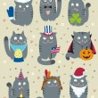 Stock Vector: Cats Celebrating Holidays
