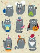 Cats Celebrating Holidays — Stock Vector