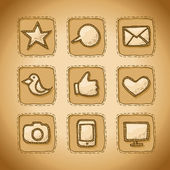 Social Hand Drawn Icons Set — Stock Vector