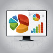 Charts On Monitor — Stock Vector