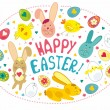 Stock Vector: Easter Card With Graphical Elements