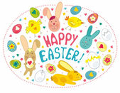 Easter Card With Graphical Elements — Stock Vector