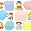 Stock Vector: Cute Personages With Speech Bubbles