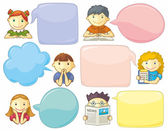 Cute Personages With Speech Bubbles — Stock Vector