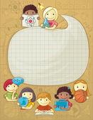 School Frame With Children — Stock Vector