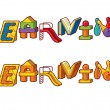 Stock Vector: Word Learning. Letters Made Of Toys