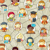 Seamless Pattern - Cute Personages In Social Network — Stock Vector